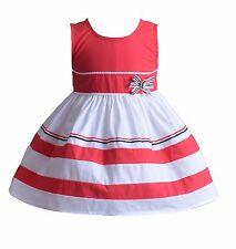 Cinda Niñas Blanco y rojo Aro Algodón Vestido Fiesta Niña 6-9 meses