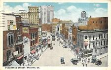 PEACHTREE STREET ATLANTA GEORGIA POSTCARD 1921