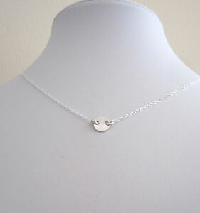 925 sterling silver small plain 7mm disc floating necklace