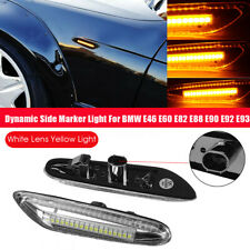 2X Dynamic LED Side Marker Light Turn Signal Lamp For BMW E46 E60 E82 E90 E91