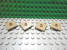Lego 4 Dark Tan 2x2 tile plate with 1 center stud New