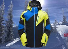 Spyder Mens Leader XL Black Yellow Blue Waterproof Insulated Ski Jacket Nwt $500