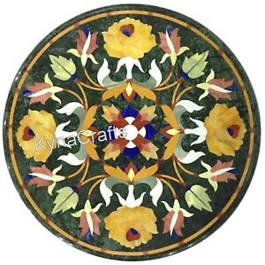 15 Inches Marble Coffee Table Top Semi Precious Stone Inlaid Work End Table