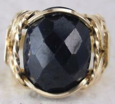 Natural Sapphire 10 carat Artisan Ring 14k Gold Filled mens / ladies Wide Band