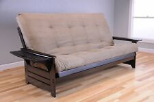 "Queen Size Espresso ""Wood Frame and Mattress"" (Peat) 8"" Coil Futon set sofa bed"