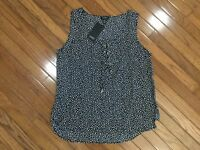 NWT Jones New York Sleeveless BLACK Polka Dot Blouse Top Drawstring Sz L  New
