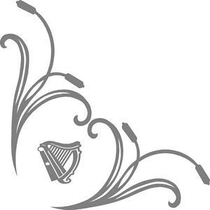 Ireland irish harps truck word cab window stickers (pair) scroll