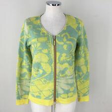 Eva Claudi Dansih Sweater Cardigan zip M Yellow Green Excellent