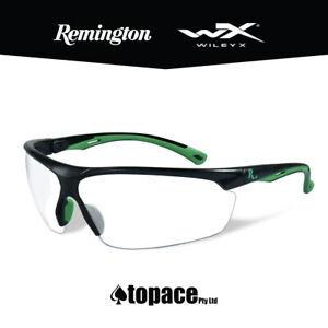 Remington RE501 Shooting/Safety Glasses - Black/Green Frame - Clear Lens