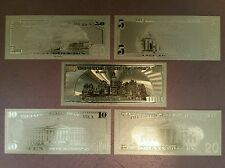 Banknote Set .999 Pure 24K Gold Leaf $100 $50 $20 $10 $5 U.S. Real Like Bills