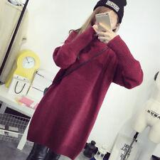 Women Long Sleeve Loose Warm Knitted Sweater Jumper Knitwear Outwear Tops Casual