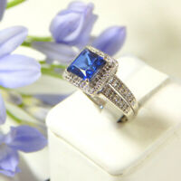 2.20 Karat Prinzessin Solid 14K Weissgold Blau Saphir Edelstein Ring Größe M N O