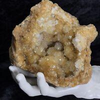 """5"""" Large GEODE Golden Healer Crystal Cluster Natural Amber Citrine Color Quartz"""