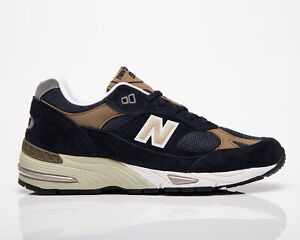 New Balance 991 Made In UK Men's Steel Blue Tan Lifestyle Shoes Casual Sneakers