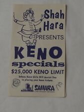 Vintage SHAH HARA Presents KENO SAHARA Hotel & Casino Las Vegas