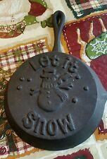 "Cast Iron 5"" miniature ""Let it snow"" pan decorative. Embossed."