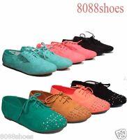 Women's Oxfords Flat Round Toe Lace Up Cambridge Sandal Shoes Size 5.5 - 11