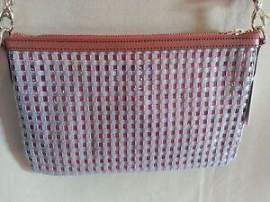 FOSSIL Sydney Woven PVC Top Zip Crossbody Bag Natural Peach/Orange $128 NWT!