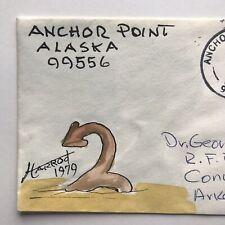 ANCHOR POINT ALASKA Cover 1978 FOLK ART Pen & Ink Watercolor Cachet DR HARROD VG