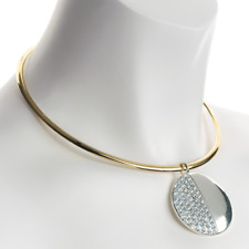 Two Tone Gold and Silver Colour Collar Necklace with Crystal Disc Pendant