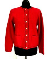 Womens Karen Scott Wool Red w/Black Stitching Gold button Cardigan Sweater Sz S