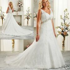 Sleeveless V Neck Plus Size White/Ivory Bridal Gown Wedding Dresses Custom All