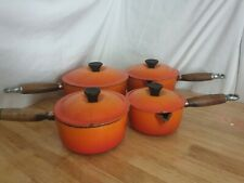 Le Creuset 4 Saucepan Set Volcanic Orange With Lids