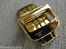 18mm HQ316L S/S Yellow Gold Plated Deployment Buckle Clasp Fit Jaeger Le Coultre