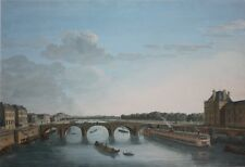 ELIAS MARTIN-Swedish Realist-Original Gouache Painting-Pont Royal, Paris, 1810