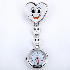 Fashion Heart Shape Smile Face Nurse Fob Brooch Pendant Cute Pocket Watch PG White