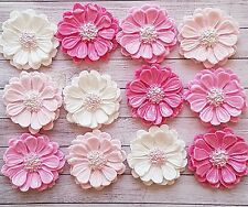 12 edible pink mixed flowers,fondant cupcake toppers,wedding,birthday