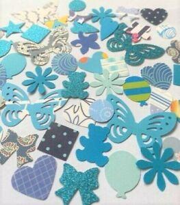 120 x BLUE MIXED SHAPES CARD BUNDLE CARD MAKING CRAFT EMBELLISHMENTS