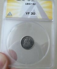 1857  Seated Liberty Half Dime Anacs VF30  lovely original no problem coin!