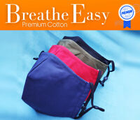 Breathe-Easy Premium Cotton Face Mask with Nose Wire & FREE FILTER Anti-Suction
