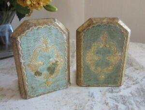 Vintage Florentine bookends. Aqua & gold