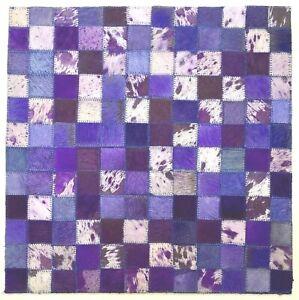 SURYA Rug Leather Hair on Hide Carpet Tile Hand Craft Purple Blue Lavender 18x18