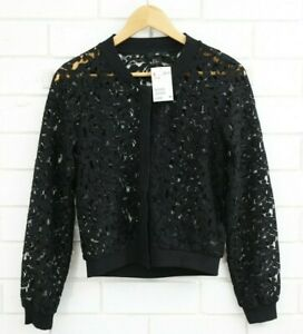 Women's H&M Black Lace Cardigan Snap Buttons BNWT Size XS