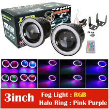 """2x 3"""" RGB LED Projector Fog Lights Driving with Purple COB Angel Eyes Halo Rings"""