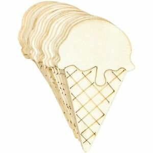24x Unfinished Wood Ice Cream Cone Cutouts Wooden Pieces for Crafts, 2 x 3.9 in.