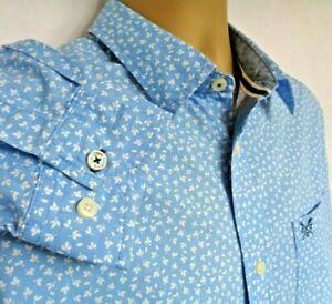 "IMMACULATE CREW CLOTHING MENS LIGHT BLUE & WHITE SLIM FIT MEDIUM SHIRT P2P 22"""