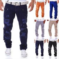 New Men's Slim Skinny Runway Straight Elastic Denim Pants Destroyed Ripped Jeans