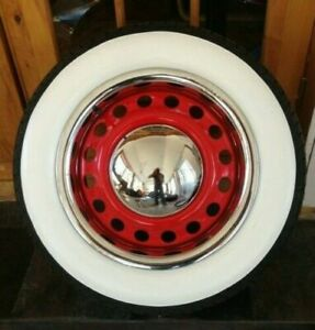 """USA tire style 15x4"""" Tire Rubber White Walls 3"""" Wide Chevy bel air 150/210   #44"""