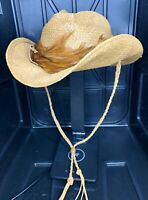 Shady Brady Woven Straw Hat With Feathers Small Size Great Condition