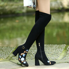 Womens Over Knee Boots Ethnic Embroidered High Heel Long Boot Pointed Toe Shoes