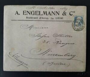 1908 Liège Belgium to Nuremberg Germany A Engelmann Co Business Wax Seal  Cover
