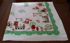 🌟 Vtg Printed Tablecloth Kitchen Motif Jadeite Green & Red  Excellent
