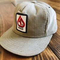 Vintage Ross Breeders Corduroy Tan SnapBack Hat Made In USA EUC Free Shipping