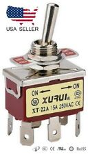 HEAVY DUTY DPDT ON-ON TOGGLE SWITCH 20A 125V, 15A 250V SPADE TERMINALS (22A)