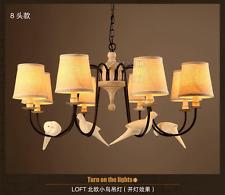 Vintage Resin Bird Pendant E14 8-Light Fabric Shade Antique Rust Ceiling Lamp