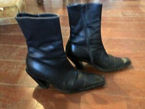 Ann Demeulemeester slanted vintage black Italy boots 37 7  6-1/2